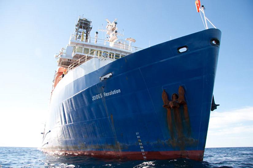 "Das Bohrschiff ""JOIDES Resolution"", Bild: Carlos Alvaréz Zarikian."