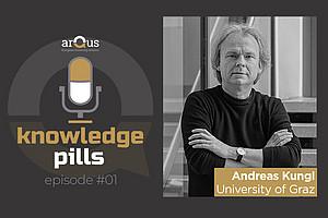 Andreas Kungl spricht in der ersten Folge von Arqus Knowledge Pills über das Stop Covid-19 Forschungsprojekt und die begleitende Fundraising-Kampagne. Foto: Uni Graz/Tzivanopoulos; Design: Universität Granada.