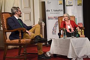 Donna Leon und Romedio Schmitz-Esser beleuchteten die Facetten des Morbiden und des Mordens. Fotos: Uni Graz/Schweiger