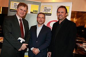 Politik Cafe über Strafvollzug in Österreich mit: Thomas Mühlbacher, Markus Steppan und Josef Adam (v.l.)