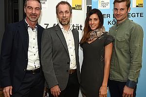 Sporternährung bewegte Podium und Publikum: Manfred Lamprecht, Gerhard Tschakert, Julia Dujmovits und Stefan Spirk (v. l.) Foto: Uni Graz/Schweiger