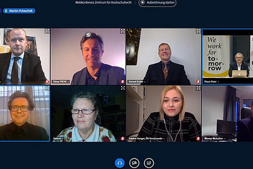 Das virtuelle Podium bei der Diskussion zur UG-Novelle (Foto: Uni Graz/Poier)