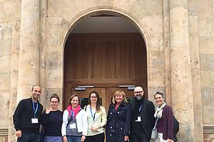 Die Grazer Delegation in Salamanca: Mario Müller, Judith Laister, Bernadette Biedermann, Alexandra Dorfer, Christa Neuper, Gerald Lind und Diana Afrashteh (v.l.). Foto: BIB.