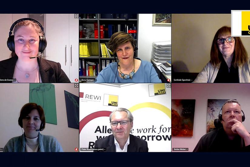 Das Online-Podium der Diskussion (Foto: Uni Graz/ Poier)