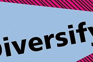 Diversify! auf buntem Hintergrund