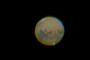 Mars at its best. Image taken with 8m focal length SCT 30 cm, my private observatory in Pretal/Kapfenstein. One can even recognize the tharsis Region with volcanoes (Olympus Mons). © Arnold Hanslmeier, 19 Oct 2020