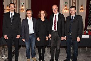 Johannes Berger (ecoAustria, Institut für Wirtschaftsforschung), Markus Marterbauer (Wirtschaftsforschung Arbeiterkammer), Tina Ehrke-Rabel (Institut für Finanzrecht), Richard Sturn (Leiter des Graz Schumpeter Centre) und Bernhard Koller (AK Steiermark)