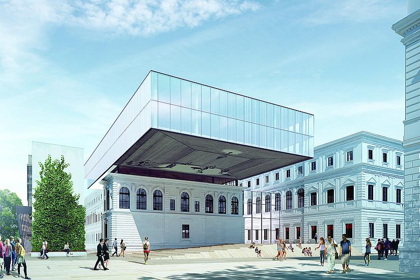 Modern, erweitert und aufsehenerregend: Mit Beginn des Wintersemesters 2019/2020 hat die Universitätsbibliothek Graz einen neuen, alten Standort. Rendering: BIG/Anna Artaker