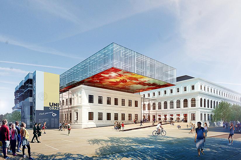 Ein unter der Campusoberfläche versenkter Hörsaal mit bis zu 430 Sitzplätzen entsteht ab 2016. Visualisierung © Atelier Thomas Pucher ZT GmbH