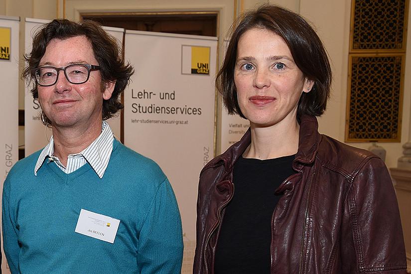 Impulsredner Jos Beelen und Gudrun Salmhofer, Leiterin der Lehr- und Studienservices