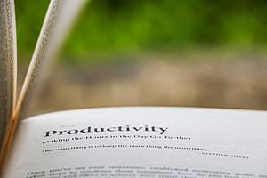 Buch offen lesend Wirtschaftlichkeit
