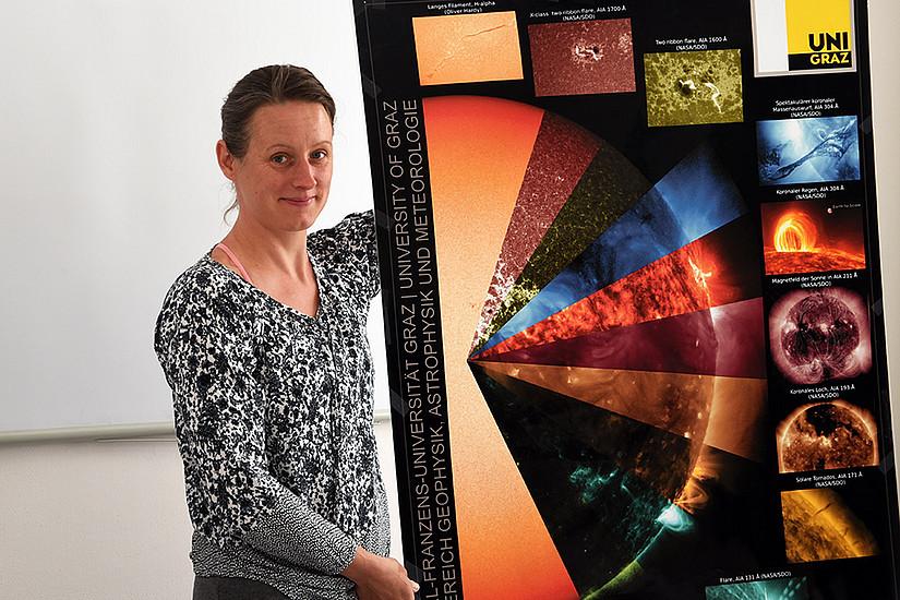 Von der Sonne angezogen: Julia Thalmann untersucht das Magnetfeld des Fixsterns. Foto: Uni Graz/Eklaude