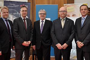 Nikolaus Koller (Die Presse), Vizerektor Peter Riedler, Wolfgang Eder (voestalpine),