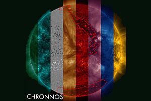 Die ForscherInnen haben die Sonne in unterschiedlichen Wellenlängen im ultravioletten Licht aufgenommen und mit Magnetfeldkarten kombiniert. Foto: CHRONNOS