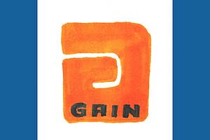 oranges spiegelverkehrtes G vor weißem Hintergrund, rechts und links vom Weiß zwei blaue Längsstreifen, im G unten in blau GAIN