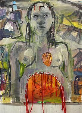 """Anne Lückl: """"Little Boy"""", 2017 (Acryl/Lwd, Fäden, Dornen, 100 x 80 cm)"""