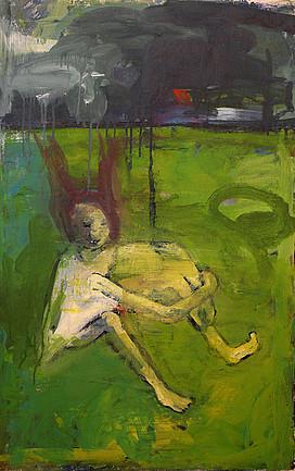 Anne Lückl: o. T. (oder: Osterspaziergang), 2007 (Acryl auf Leinwand, 85 x 55 cm)