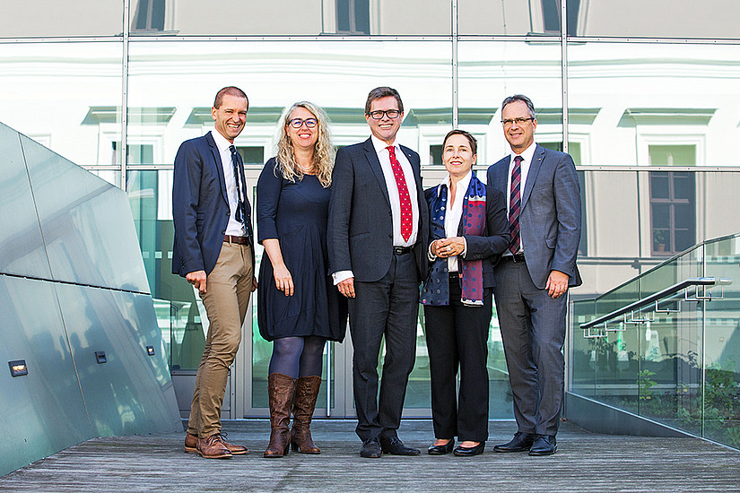 Das neue Leitungsteam der Universität Graz: Christof Gattringer, Catherine Walter-Laager, Martin Polaschek, Petra Schaper-Rinkel, Peter Riedler; Foto: Uni Graz/Hoffmann