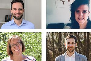 Thomas Pölzler, Laura Garcia Portella, Christoph Hofstätter und Sarah Mercer (im Uhrzeigersinn von links oben) waren von ihren Erasmus+ Auslandsaufenthalten begeistert. Fotos: privat.