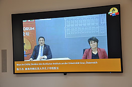 Im Konferenzraum: Univ.-Prof. MMag. Dr. Schulev-Steindl & Dr. Chen