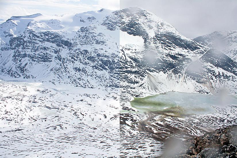 Vor und nach dem außergewöhnlichen Lawinenereignis: die Bilder wurden mit nur einem Tag Abstand aufgenommen. Fotos: Greenland Ecosystem Monitoring