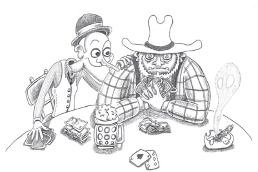 ... und jemanden in die Karten schauen. Karikaturen: Michael Feldhofer.