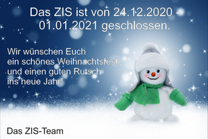 Schneemann mit Mütze, grünen Handschuhen und grünen Schal. Blauer Hintergrund mit Schneeflocken.