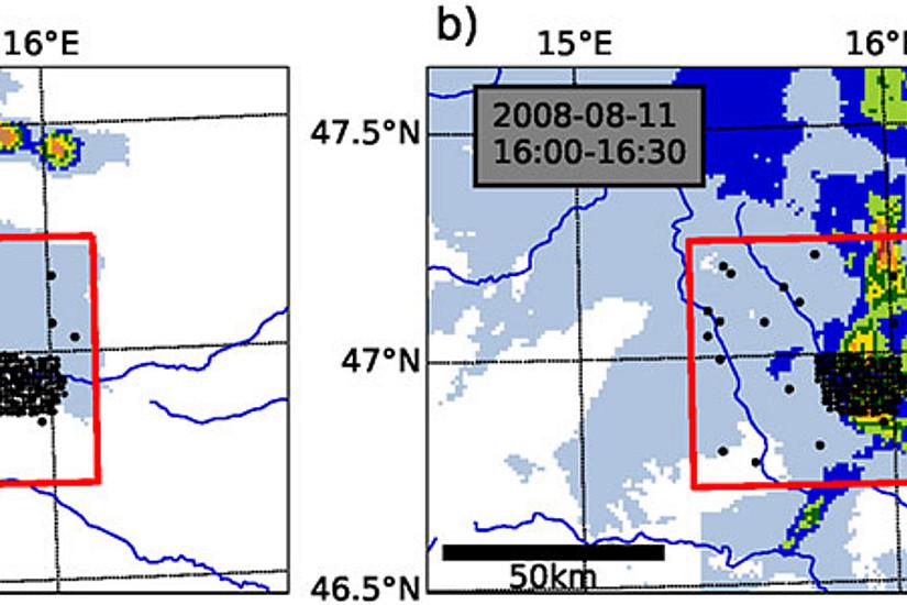 Sommerliche Gewitterzellen bringen kurzdauernde kleinräumige Extremniederschläge, wie die Bilder an zwei Beispielen zeigen. Grafik: Schröer et al. GRL 2018