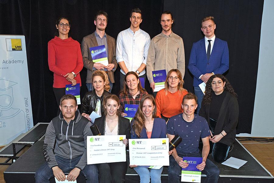 13 DoktorandInnen nahmen heuer an der 3MT in Graz teil. Foto: Uni Graz/Pichler