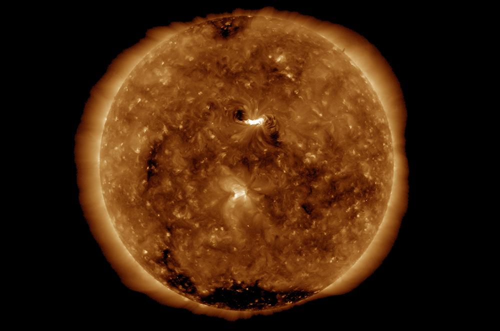 """""""Women's Day Event"""": Die helle Region ist der Sonnenausbruch, der am 8. März 2019 stattgefunden hat. Foto: NASA SDO/AIA (Solar Dynamics Observatory, Atmospheric Imaging Assembly)"""