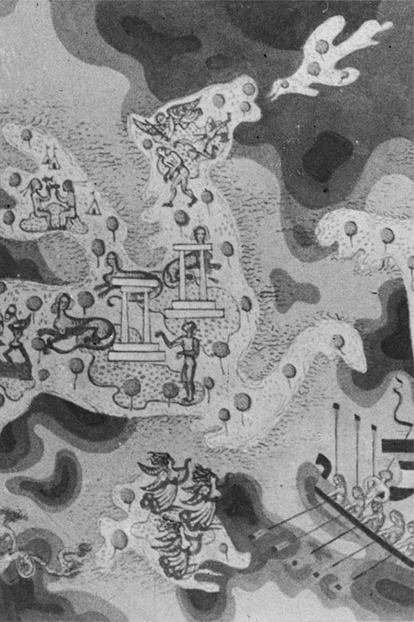 """Axl Leskoschek verwendete antike Motive, wie das Sphinx-Rätsel oder Odysseus' Begegnung mit den Sirenen, um Kritik am aufkommenden Nationalsozialismus zu üben. Foto: Wandgemälde """"Allegorie der Freunde"""" von Axl Leskoschek 1937, Fotomontage von Eva Klein (basierend auf den Fotos von Max v. Wikulli 1938, Privatarchiv)."""