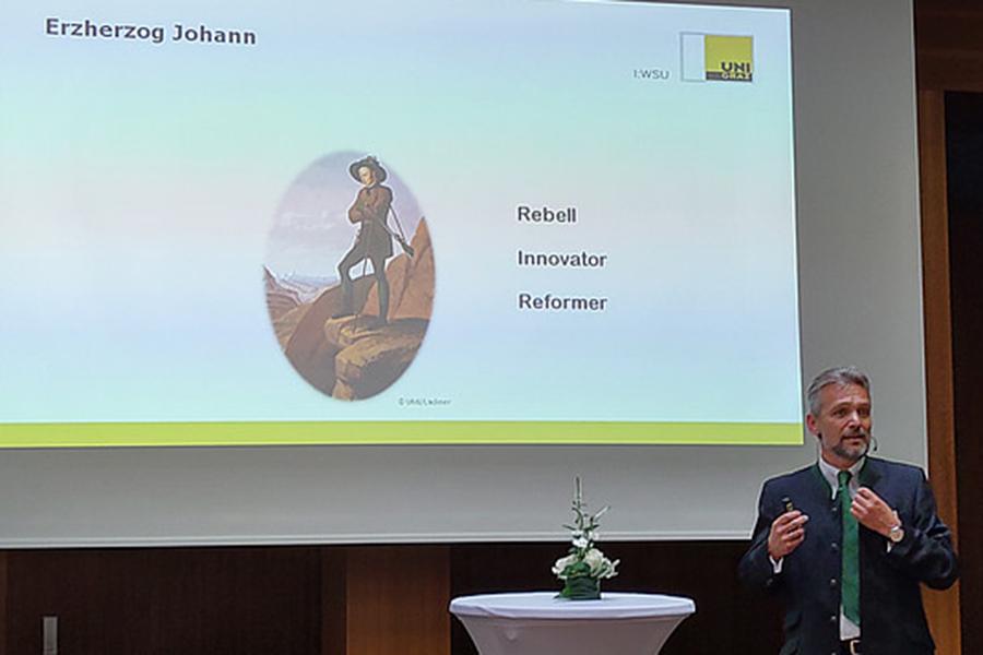 Thomas Krautzer hielt das Impuls-Referat über die Transformation der Steiermark vom alten Industriegebiet zur modernen Wissensregion. Foto: Katharina Fischer