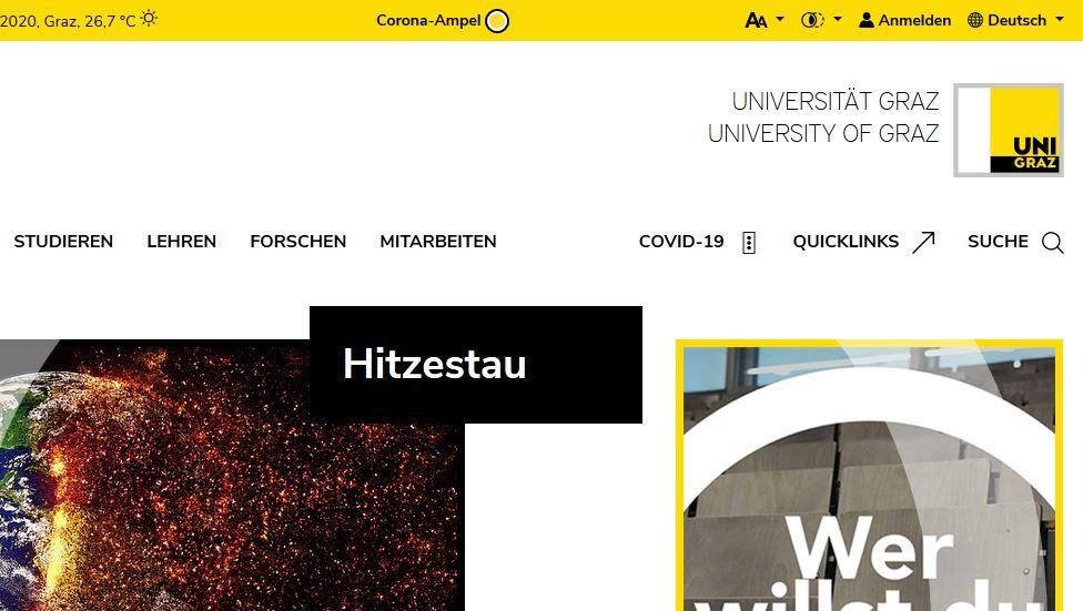 Ab sofort ist die Corona-Ampel in der Kopfzeile der Uni-Webseite zu finden. Foto: Uni Graz/Tzivanopoulos